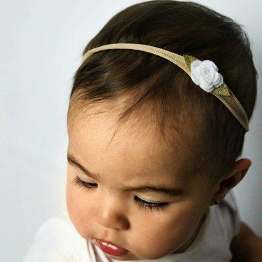 Your Little Miss Nylon Baby Haarband mit weißem Filzröschen