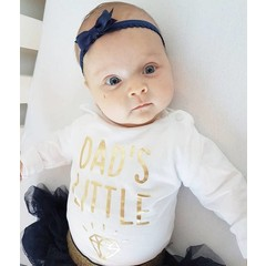 Your Little Miss Navy newborn headband with lace band and satin bow