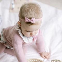 Your Little Miss Baby haarbandje met dubbele strik rose quartz