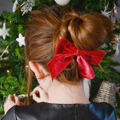 Your Little Miss Hair bow with elastic red velvet