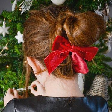 Your Little Miss Haarspeldje met strik large met elastiek red velvet