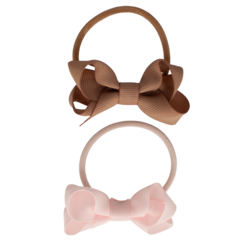 Your Little Miss Set of 2 rubber bands with powder pink bow