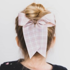 Your Little Miss Hair bow with elastic neutral check