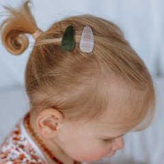 Your Little Miss Set of baby hair clips neutral check