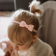 Your Little Miss Baby hair band with double bow powder pink