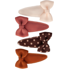 Your Little Miss Set of baby hair clips with bow chutney dots
