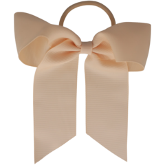 Your Little Miss Hair bow with elastic nude linen