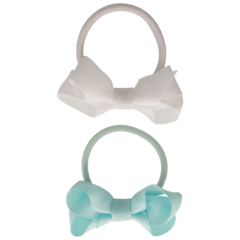 Your Little Miss Set of 2 rubber bands with bow mineral ice