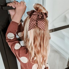 Your Little Miss Hair bow with elastic chutney dots