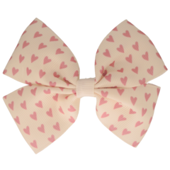 Your Little Miss Hair clip with bow large pink hearts