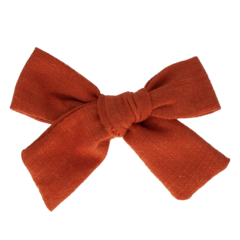 Your Little Miss Hair clip with bow medium rust linen