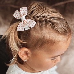 Your Little Miss Hair clip with bow medium pink hearts