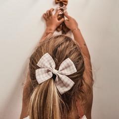 Your Little Miss Haarspange mit Schleife groß nude kariert