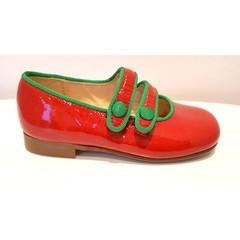 Eli Eli rood schoentje met dubbele riem en groen afgebiesd 22.23.24.27