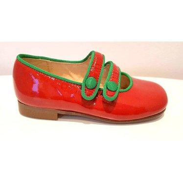 Eli Eli rood schoentje met dubbele riem en groen afgebiesd