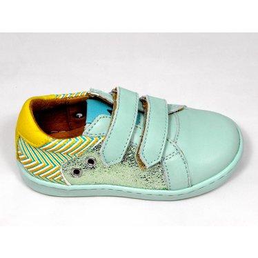 Maa MAA sneaker velcro aqua/glitter/mosterd