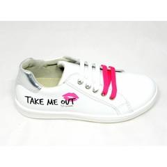 EB EB sneaker wit met opschrift roze accenten UV