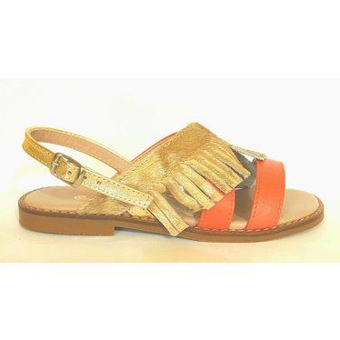 Eli Sandaal koraal/gouden franjes 28.29.30.31.32.33.34