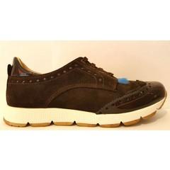 Eli Sneaker bruin met blauw ponyhaar 36.37.38.39.40