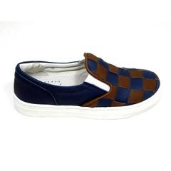 Herdwick Slip-on, blauw bruin gevlochten UV