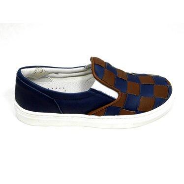 Slip-on, blauw bruin gevlochten