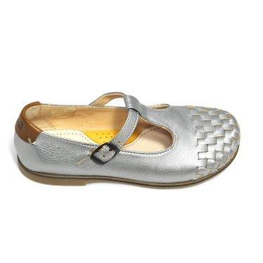 Ocra T-band schoen, zilver met gevlochten tip