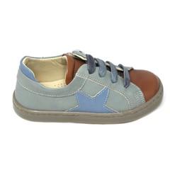 Jeune fille en fleur Sneaker, zachtgroen/cognac tip en blauwe ster UV