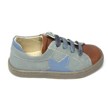 Jeune fille en fleur Sneaker, zachtgroen/cognac tip en blauwe ster