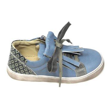 Jeune fille en fleur Sneaker, blauw met retroprint op de hiel