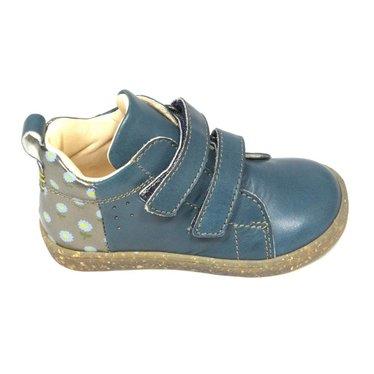Ocra Hoge sneaker velcro, petrolblauw met bloemetjes hiel
