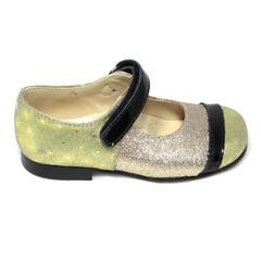 Eli Laag schoentje met riempje, goude glitter met zwarte lak UV