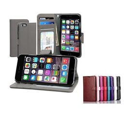 Lederen wallet hoes iPhone 6 Plus (s)