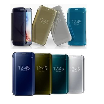 Zwarte Clear View cover hoes - Samsung Galaxy S6 Edge
