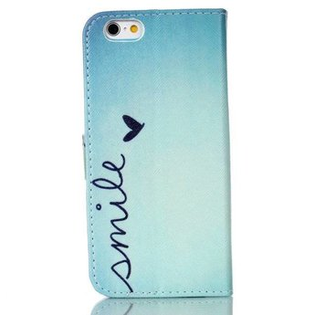 Smile tekst - Blauwe wallet hoes iPhone 6 / 6s