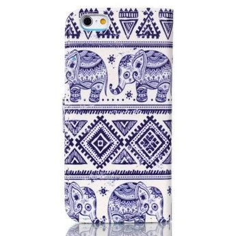 Tribal Olifant afbeelding - wallet hoes iPhone 6 Plus (s)