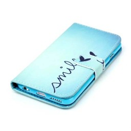 Smile tekst - Blauwe wallet hoes iPhone 6 Plus (s)
