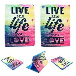 Live the life you love tekst - PU lederen hoes iPad mini 1 / 2 / 3