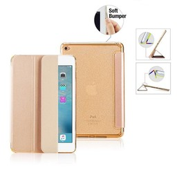 Premium Apple iPad Mini 1, 2, 3 - Smart Cover Hoes Case - met Flexibele Achterkant – Goud / Gold