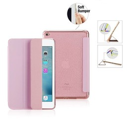 Premium Apple iPad Mini 1, 2, 3 - Smart Cover Hoes Case - met Flexibele Achterkant – Roze / Pink