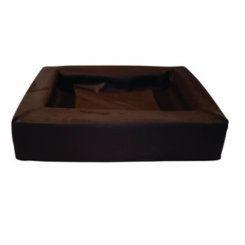 Leather bed donker bruin