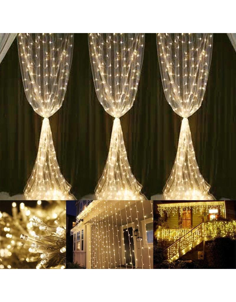 LEDFactory 3x6m LED Lichtervorhang, 8 Modi, Lichterkette mit 594 LEDs, Verbindbar, Warmweiß