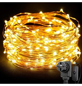 20M LED Kupferdraht Lichterkette mit Schalter, 200er LEDs, Wasserdicht Warmweiß