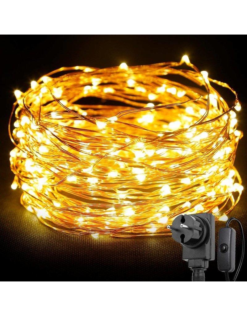 LEDFactory 22M LED Kupferdraht Lichterkette mit Schalter, 200er LEDs, Wasserdicht Warmweiß