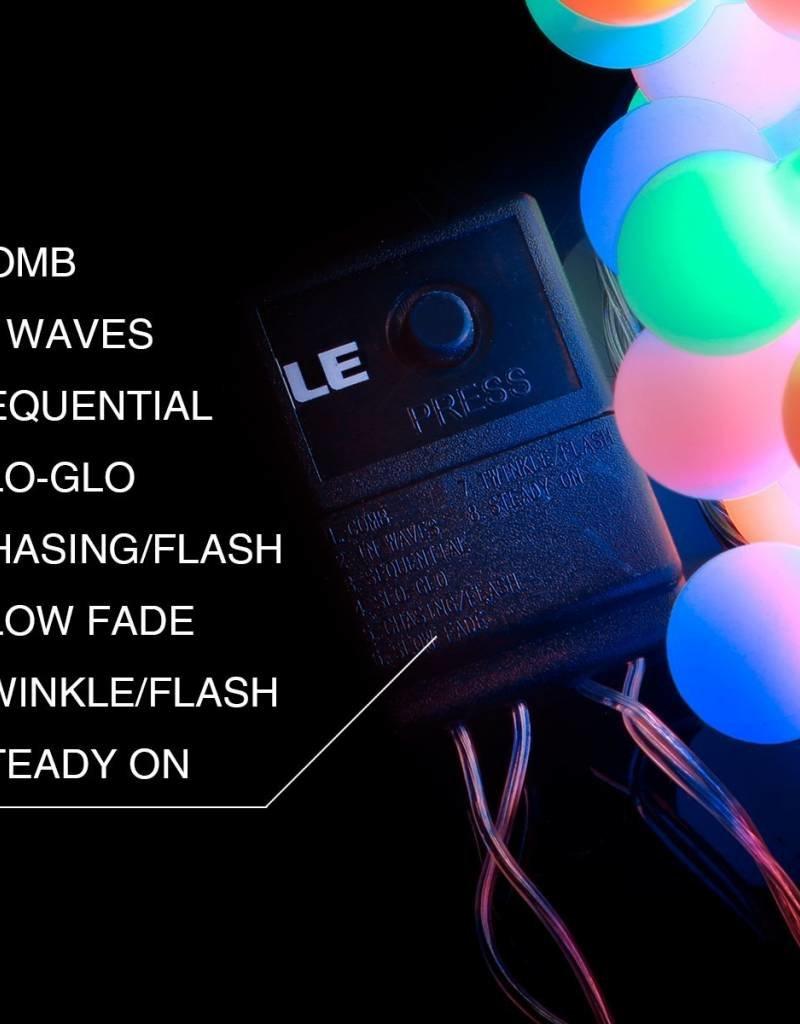 100er LED Kugel Lichterkette, 10M Mehrfarbig, 8 Modi mit Memory-Funktion, Innen/ Außen, RGB