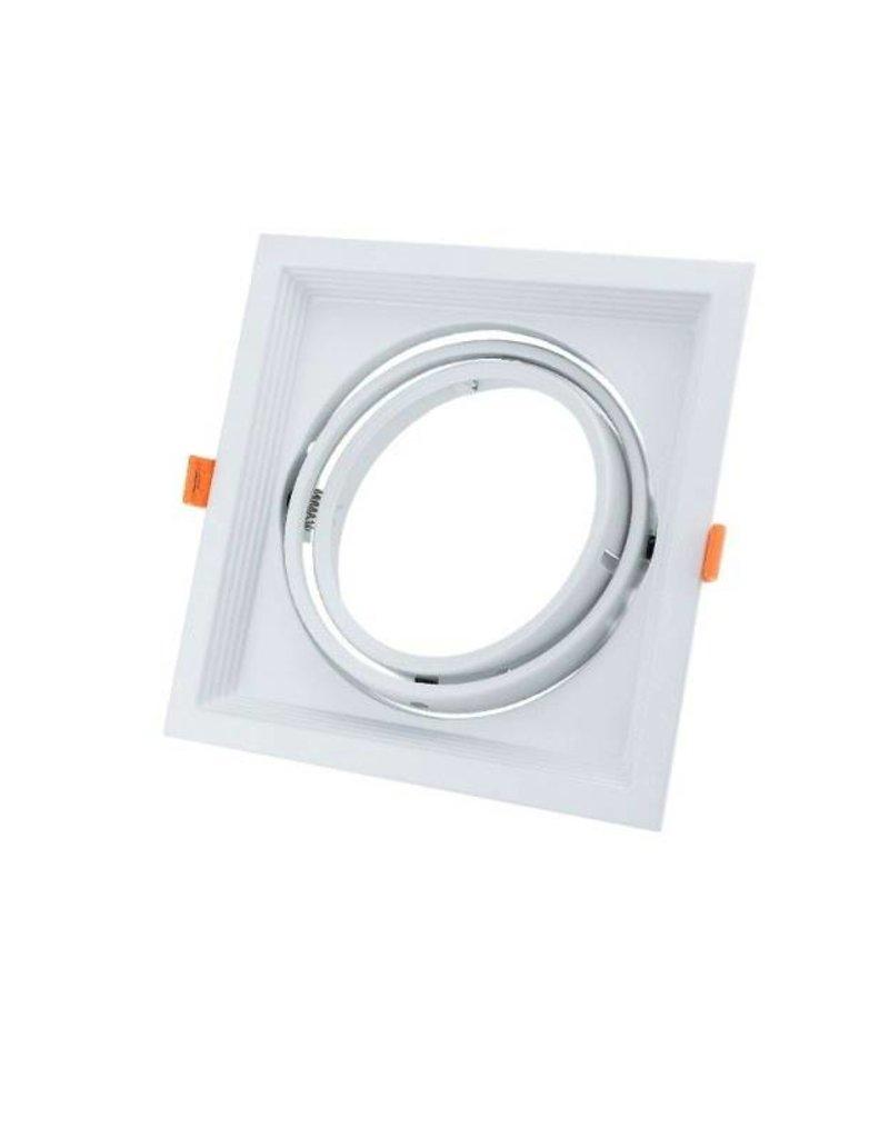 Einbaurahmen für LED AR111 Rechteckig 185x185mm Schwenkbar 1 Spot Weiß 2er Packung
