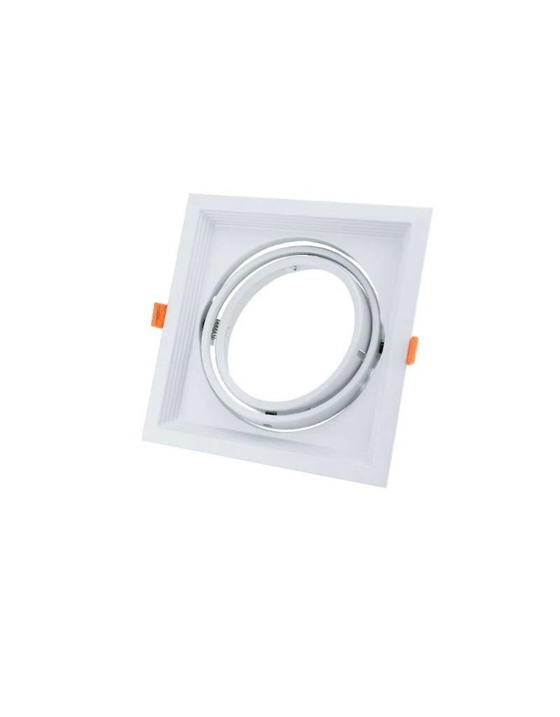 LEDFactory Einbaurahmen für LED AR111 Rechteckig 185x185mm Schwenkbar 1 Spot Weiß 2er Packung