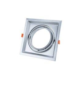 LEDFactory Einbaurahmen für LED AR111 Rechteckig 185x185mm Schwenkbar 1 Spot Silber 2er Packung