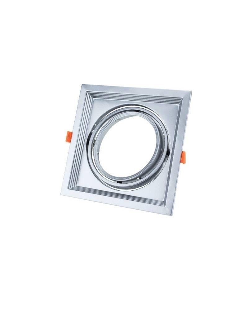 Einbaurahmen für LED AR111 Rechteckig 185x185mm Schwenkbar 1 Spot Silber 2er Packung
