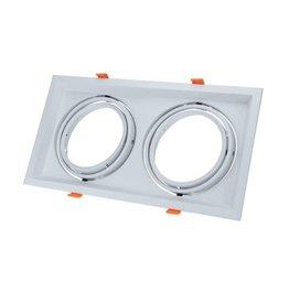 Einbaurahmen für LED AR111 Rechteckig 335x185mm Schwenkbar 2 Spots Weiß 2er Packung