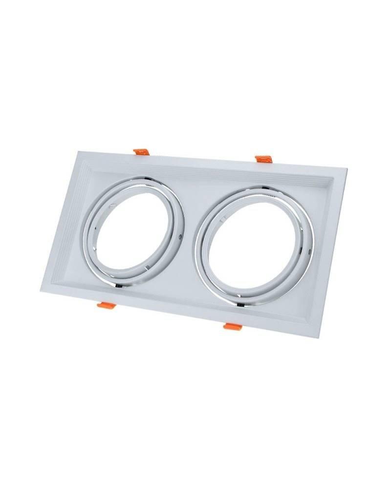 LEDFactory Einbaurahmen für LED AR111 Rechteckig 335x185mm Schwenkbar 2 Spots Weiß 2er Packung